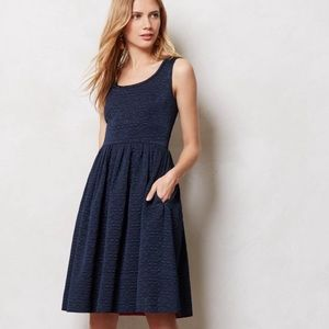 Orla Kiely Quilted Floral Fit & Flare Dress Navy